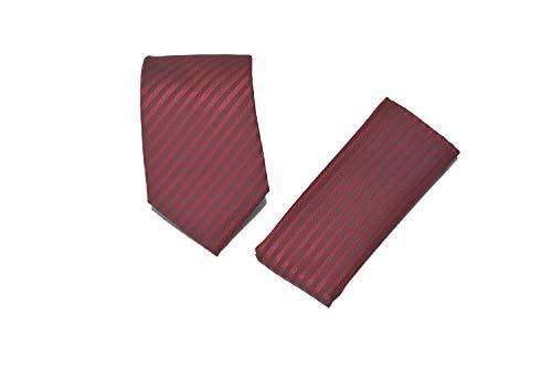 SIMPLY DAPPER Herren Krawatte und Einstecktuch, gestreift, modernes Design - Rot -