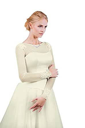 Damen Braut Bolero Brautkleid aus Stretchtüll - E513 (S/M, ivory/champagner)