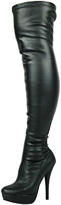 Nueva Sexy Ladies Negro Encima de la Rodilla Botas Altas Botas de Plataforma de Tacón