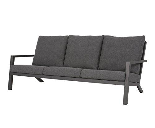 Gartenbank 3-Sitzer aus Aluminium in anthrazit inkl. Kissen in grau. Die Loungebank ist wetterfest, ideal für Garten, Terrasse und Balkon.