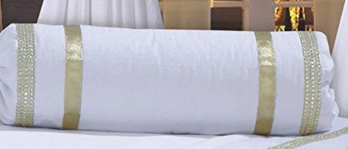 Gefüllte Nackenrolle Glamour weiß mit goldfarbenem Rand, Deko-Kissen, Boudoir-Kissen, mit Satin-Schleife, Band-Verschluss, Luxus, 200 Fadenzahl, 100% ägyptische Baumwolle (Boudoir-band)