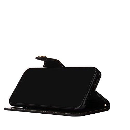 Rose Blume geprägt Flip Stand Case Retro PU-Leder Magnetverschluss Geldbörse Tasche mit Lanyard für iPhone X ( Color : Black ) Black