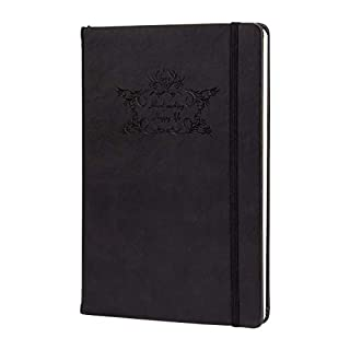 ANPHSIN Ruled Classic Notebook- Hardcover PU Leather Notebook for Writing Composition Journal Diary- Black