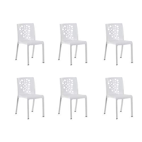 Pack de 6 Sillas de Exterior/Interior Cocktail. Color Blanco