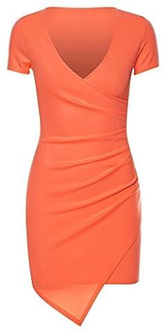 Mesdames Asymmetric Wrap Plus Drapé Mini Robe moulante EUR Taille 36-42 (EUR 38 (UK 10), corail)