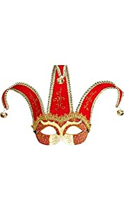 WIDMANN 04712-Máscara Veneciano Domino de Jolly Bufón Joker, Rojo/Dorado, Talla única