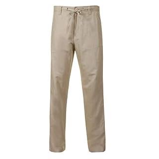 Alexanders of London Linen Drawstring Trousers - Beige - Size 46/32