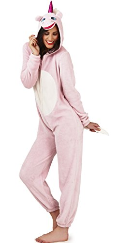 - 31mdqvK 2BZHL - Cute Womens Girls Tweens Hooded Pink Unicorn 3D Super Soft All in One Onesie, Pink, X Large