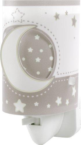 Dalber 63235LE Mond und Sterne Nachtlicht, Plastik, grau, 6 x 7 x 13 cm