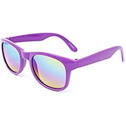 Cheapass Occhiali da Sole Eleganti Occhiali di Plastica Sportivi Montatura Opaca Nera Lenti Specchiati Rosa UV400 Protetti