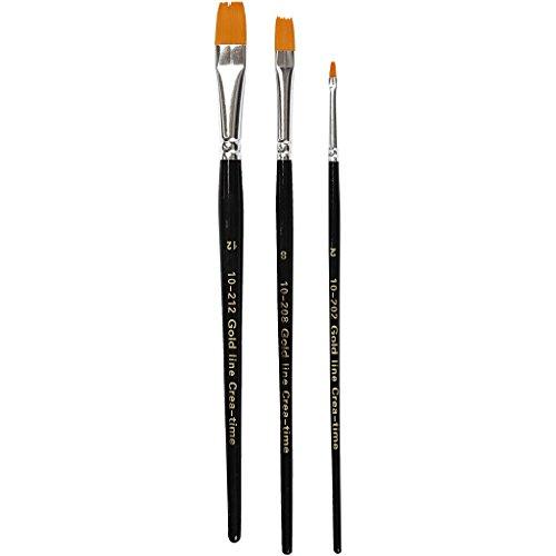 Gold Line Set pinceaux acryliques, 2+8+12 , l: 3+9+12 mm, Plat, 3assortis
