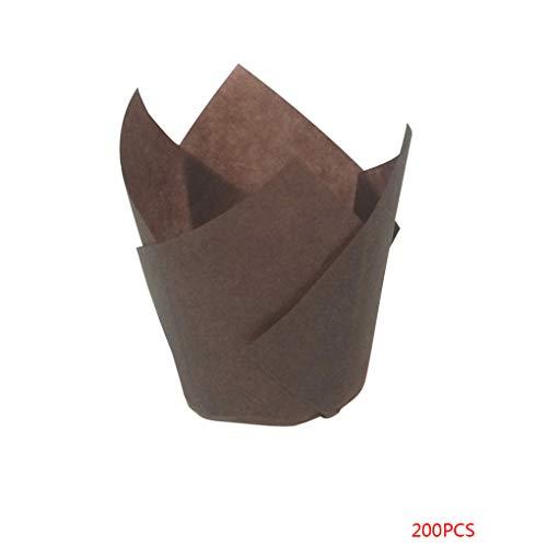 Level 200 Stück Tulip Flamme Wrapper Muffin Cupcake Liners Hitzbeständige Einweg-Kuchen Pappbecher Backen-Werkzeuge