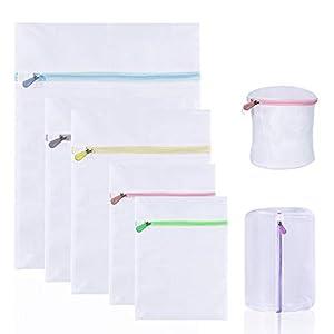 7tlg Wäschenetz für Waschmaschine, KAKOO Wäschesack aus Netzstoff Wäschebeutel mit Reißverschluss Wäschetasche für Bluse, Strumpfwaren, BH, Unterwäsche, Socken Wäscheschutz und Ordnung