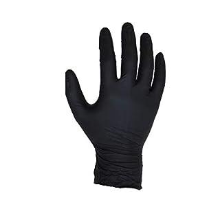 200 Stück (2 Boxen) Schwarz Nitril-Handschuhe - Größe L - Puderfrei - Einweg - Latex frei - AQL 1,5 - von ASPRO