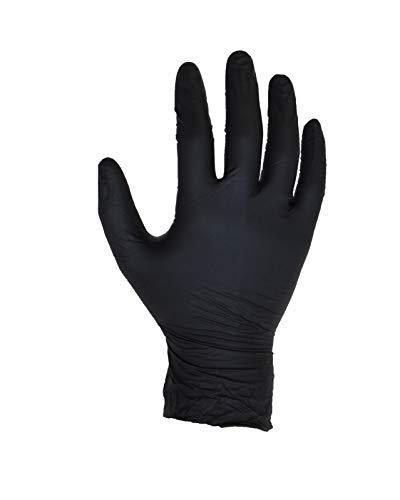 100 Stück (1 Box) Schwarz Nitril-Handschuhe - Größe M - puderfrei - Einweg - Latex frei - AQL 1,5 - von ASPRO Schwarzen Handschuhen