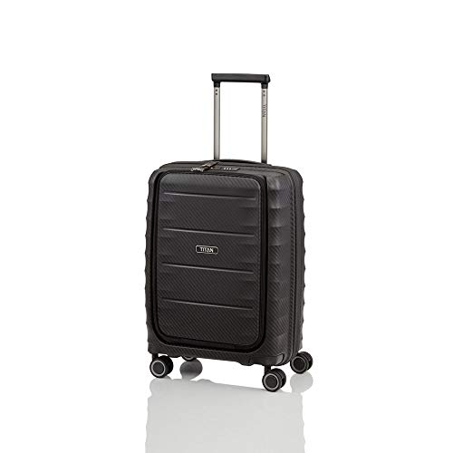 Titan Trolley Highlight, 55 cm, Trolley, Black, 4 Rollen, Kabinengepäck mit Vortasche - (842409-01)