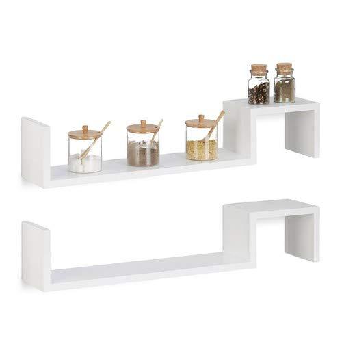 Relaxdays 10021814_49 set 2 mensole da parete, libreria a muro, in legno, hxlxp: 15 x 80 x 15 cm, bianco