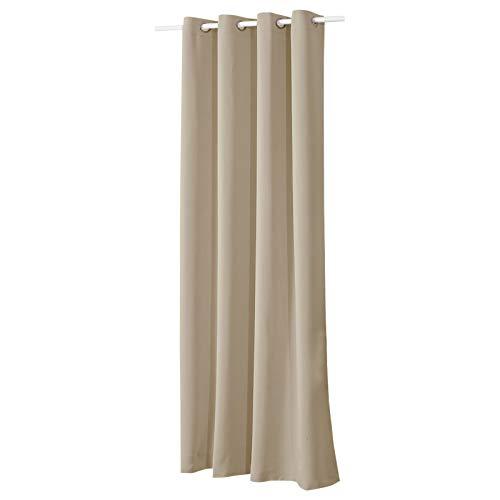 Woltu® vh5877sd tenda oscurante opaca tenda da sole con occhielli in metallo inossidabile 1 pannello caffè leggero 135x245cm.