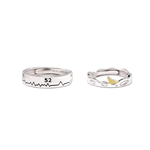 XAFXAL Pärchen Ringe 925 Sterling Silver Vintage,Einstellbare Retro Paar Ring Student 52 Hertz Wal Paar Ring Für Den Valentinstag Verlobung Geburtstag Geschenk Paar Ring (Perle Der Wal Kostüm)