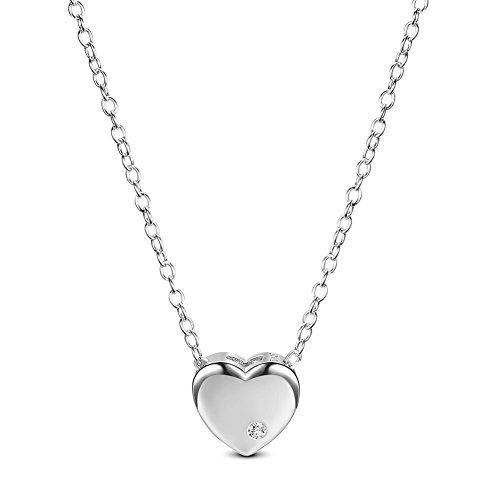 Sweetiee donna collana in argento 925 con aaa zirconia ciondolo a forma di cuore, platino, 400mm