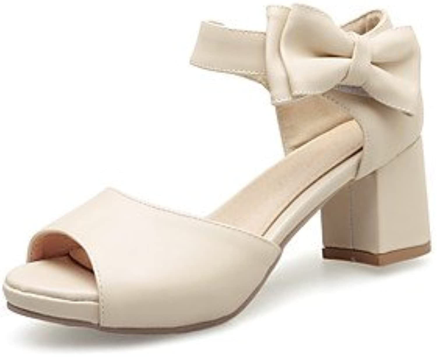 YFF Donna Sandali Casual in Similpelle Tacco Bowknot Hook & Loop,Beige,noi6.5-7   Qualità Stabile    Uomo/Donna Scarpa