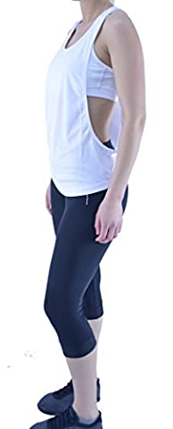 New Women Sports Stringer Armhole Vest Active Gym Fitness Exercise Tank Top Tee (MEDIUM - UK 12, White)