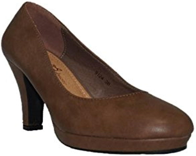 NIKO Amore - NIKO Tacón Formal 9124 Zapatos Tacón Marrón Cómodos Salón Plataforma Baratos Casual -