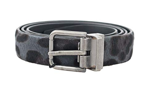 Dolce & Gabbana - Herren Gürtel - Men Belt - Gray Leopard Pattern Hair Calfskin Belt - Size: 95cm
