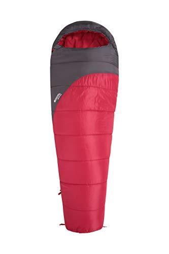 Mountain Warehouse Saco de Dormir Summit 300-23 x 41 cm - Cómodo, Saco de Dormir cálido Rojo Oscuro Cremallera Diestro - Longitud Regular (200cm)