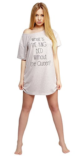 SENSIS schickes Baumwoll-Negligee Nachthemd Sleepshirt mit weitem Halsausschnitt und tollem Spruch, made in EU Beige/Rose
