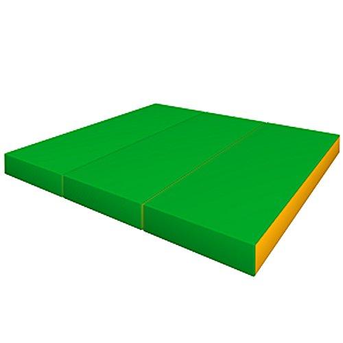 Tapis de Gym Epais Sport Large Souple Pliable Antidérapant Vert/Jaune pour Enfant - 150x100x10 cm