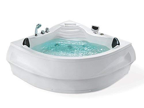 Whirlpool Badewanne St. Tropez mit 14 Massage Düsen + Heizung + Ozon Desinfektion + Unterwasser Beleuchtung / Licht + Wasserfall + Radio - Sprudelbad Hot Tub indoor / innen günstig