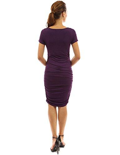 PattyBoutik Mama Damen Umstandskleid mit kurzen Ärmeln und Rollkragen Medium Purple
