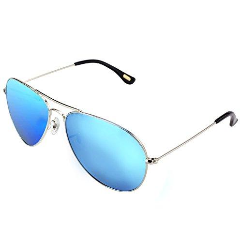 DUCO Polarisierte Pilotenbrillen Unisex 100% UV 400 Schutz 3025 (Silber)