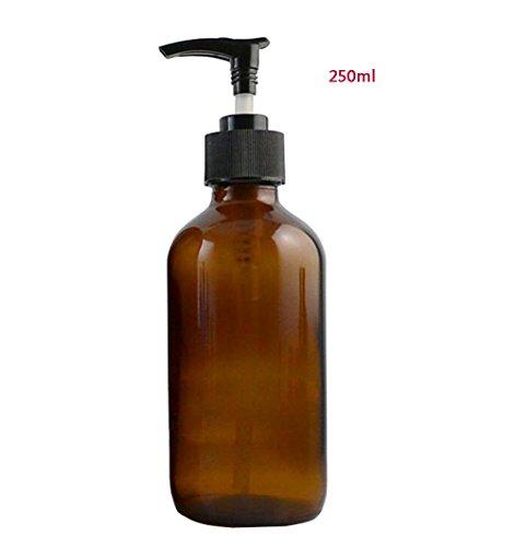 1PCS Braun Leere Nachfüllbare Bernstein Glas Pumpe Flaschen mit Plastikpumpe Top Shampoo Duschgel Verpackung Flasche Behälter Glas für Kosmetische Bad Seife Flüssigkeit Toilettenartikel (250ml/8.7oz) -