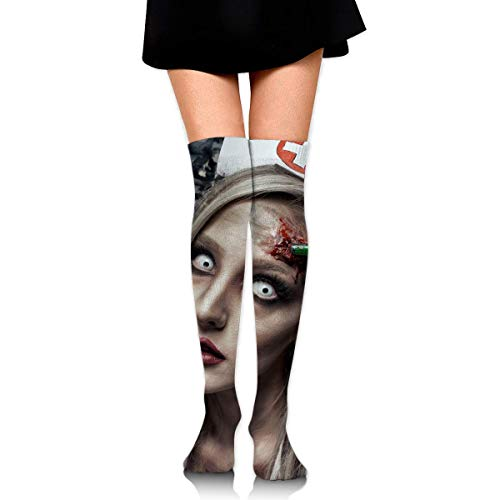DFSDFSASDF Halloween Zombie Bloody Nurse Scary Ankle Stockings Over The Knee Sexy Womens Sports Athletic Soccer Socks