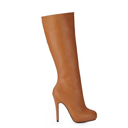Best 4U® Stivali da donna Alti suola in gomma Premium PU Punta tonda 11CM Stivali con tacco alto e tacco Autunno Inverno Tinta unita Brown