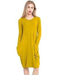 8f64c55988 METLUQ M0D4 New Womens Ladies Long Sleeve Legenlook Oversized Pocket Baggy  Midi Dress 8-22