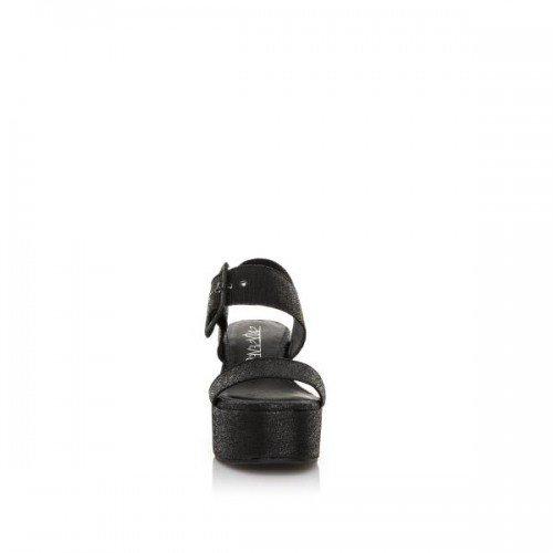 SIXTY SEVEN Black Wedge Sandals Big Buckle by (38 - Black)