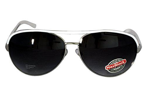 Foster Grant ICING WHT FG80 Unisex Aviator Style Sonnenbrille Silber Metall Rahmen, White Arms Schwarz Gradient Objektive 100% UV Schutz CAT 3 (Sonnenbrille Foster Grant Aviator)