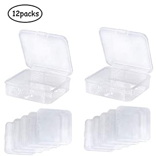 Lvcky 12 Pack Small Rectangle Clear Plastic Containers Box with Hinged Lid Bead Storage Box Case for Crafts, Tiny Bead, Jewelry, Findings, Pills, Diamond Painting Parts and Other Small Items