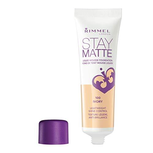 Rimmel London Stay Matte Liquid Mousse Foundation, 100 ivory, 1er Pack (1 x 30 ml)