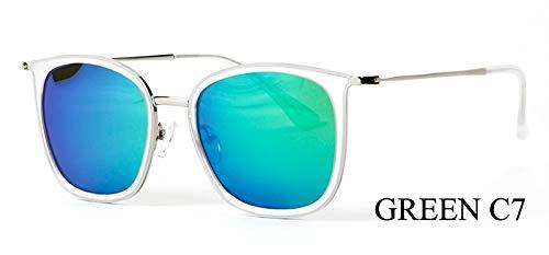 LKVNHP Marke Kleine Rahmen 28g Polarisierte Sonnenbrille Frauen Platz Mode Uv Protector Hd Sonnenbrille Spiegel Fishings WeiblicheWPGJ167 GRÜN C7