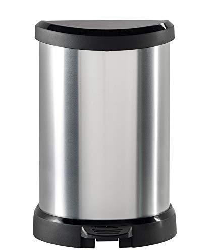 CURVER 02120 Metallic's - Cubo de la Basura con Pedal 20 litros, Color Plateado metálico