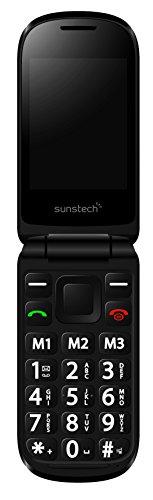 Sunstech CELT21 - Móvil con pantalla doble (Bluetooth, SD, cámara, botón SOS, linterna, base de carga), Negro