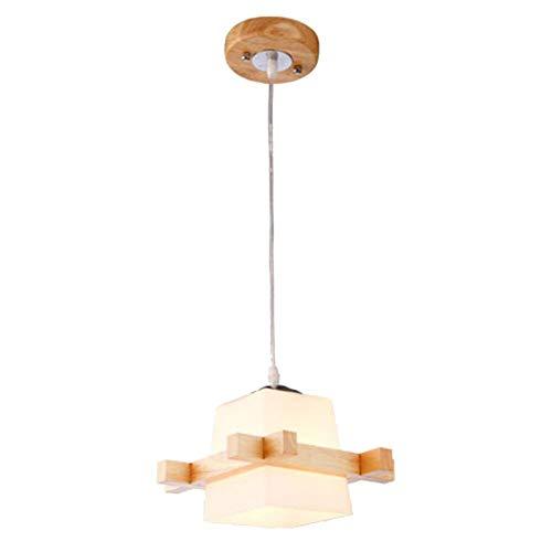 W-LI Pendelleuchte aus Holz im Japanischen Stil, E27 Nordic Pendelleuchte mit Quadratischer Glasleuchte für Flur Restaurant Bar Pub 18X20Cm-1 Licht - Quadratischen Sockel Aus Holz