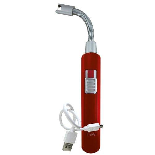 iFire Lichtbogen Flexi Feuerzeug USB-Elektro-Feuerzeug Grillfeuerzeug Stab-Feuerzeug BBQ elektronisch wiederaufladbar - kein Gas oder Benzin - mit Ladekabel in edler Geschenkverpackung (rot)