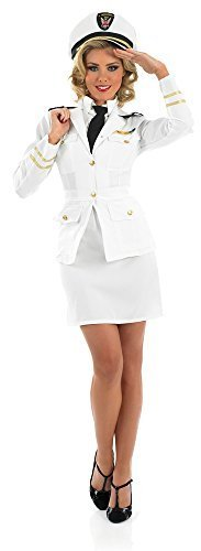 Jahre 40s Jahre weiß Marineoffizier Piloten Militär Uniform Kostüm Outfit UK 8-26 Übergröße - Weiß, 12-14 (Kostüm Von 1940)