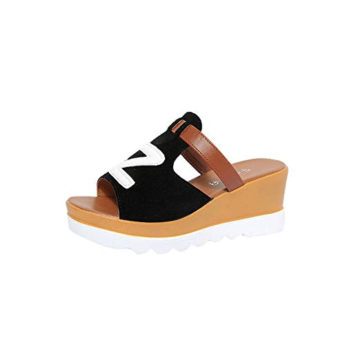 Damen Plateau Hausschuhe, Selou Wedges Peep Toe Platform rutschfeste Schuhe Sandalen Frauen Sommer Keilabsatz Plateau Breite Active Outdoor Weite Sport Leichte Slip Elegante Schuhe