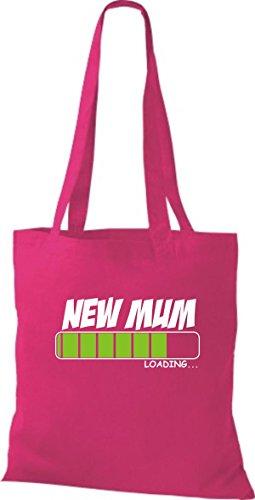 ShirtInStyle Stoffbeutel Baumwolltasche NEW MUM Loading Farbe Pink fuchsia